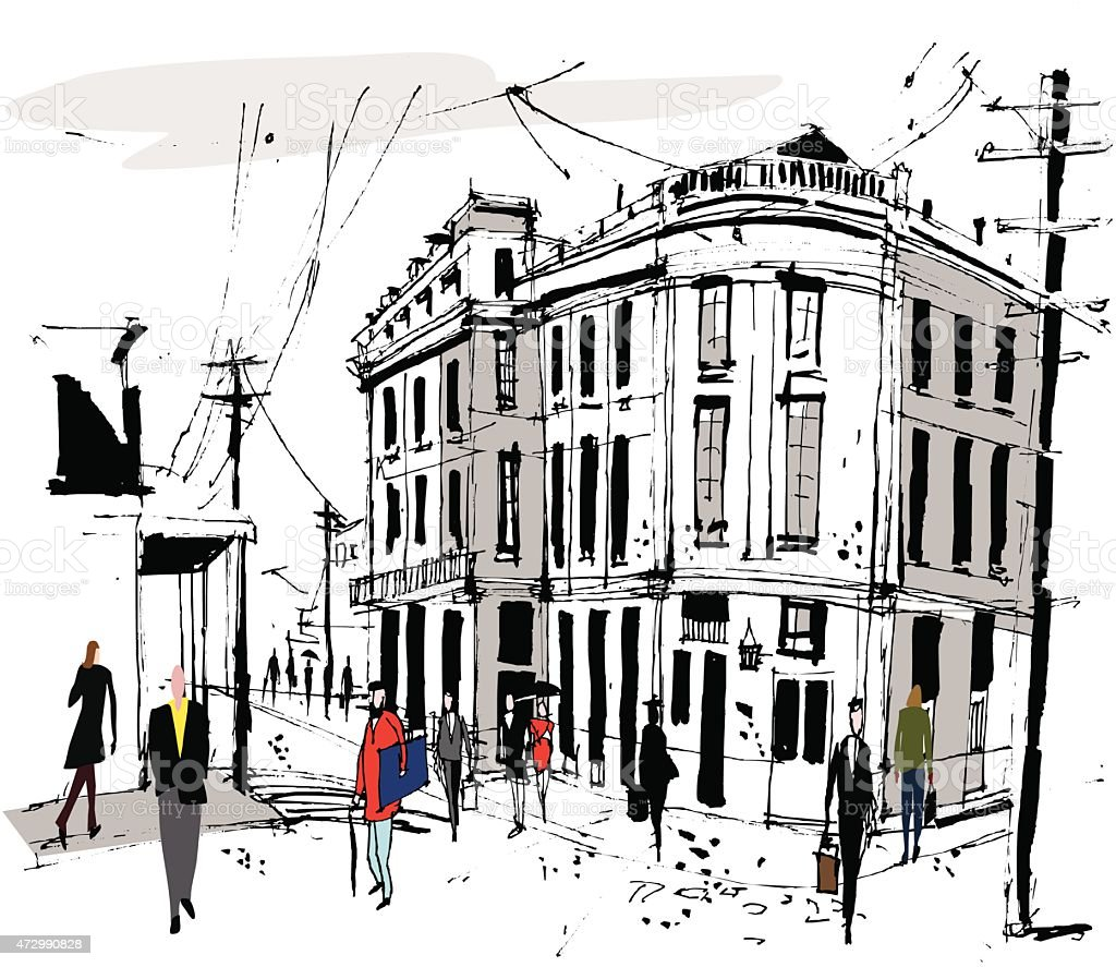 Vector illustration of old French buildings and pedestrians vector art illustration