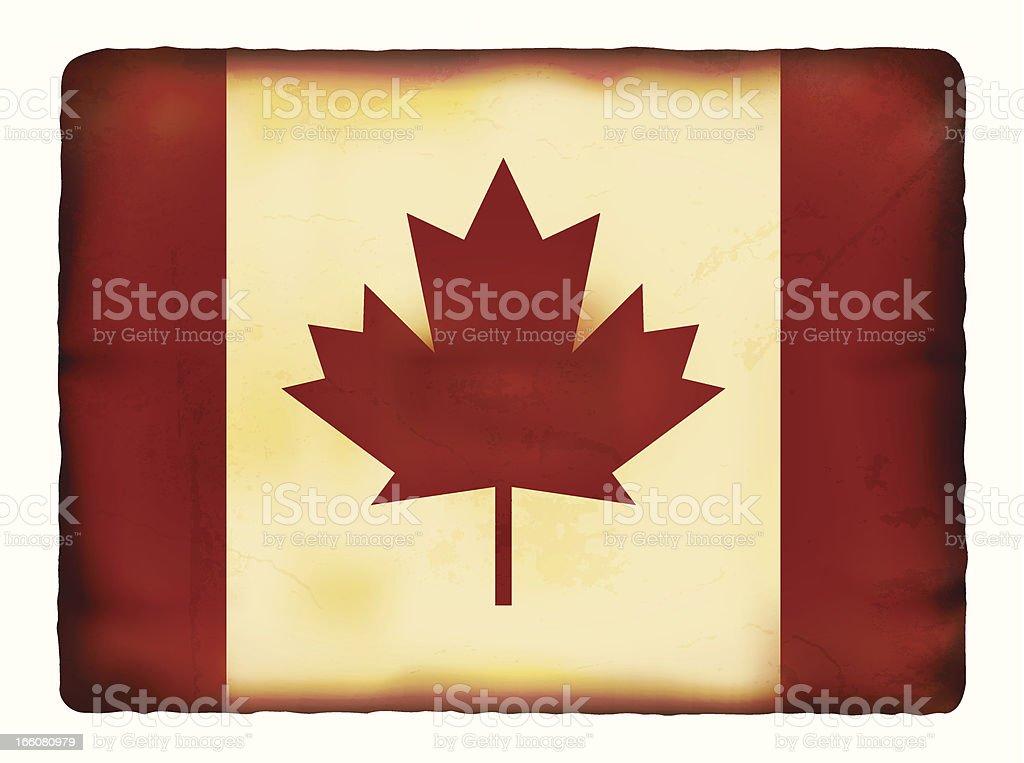 Vector illustration of old grunge paper Canada flag vector art illustration
