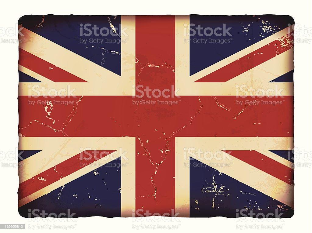Vector illustration of old grunge paper UK flag. vector art illustration