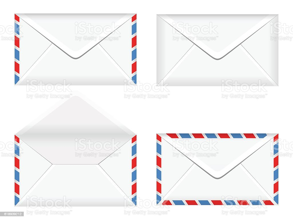 vector illustration of opened and closed envelopes vector art illustration