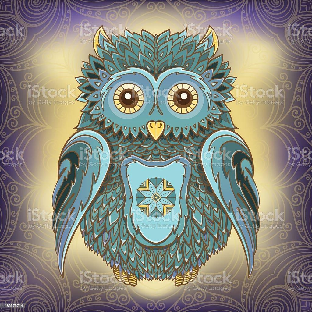 Vector illustration of owl and ornamental background vector art illustration