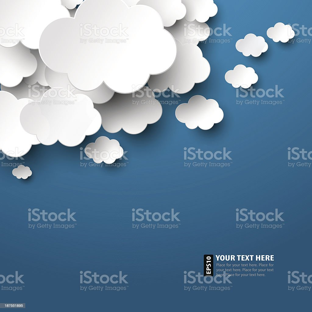 Vector illustration of paper clouds vector art illustration