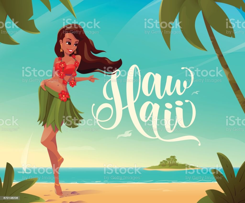 Vector illustration of paradise landscape with smiling long-haired girl vector art illustration