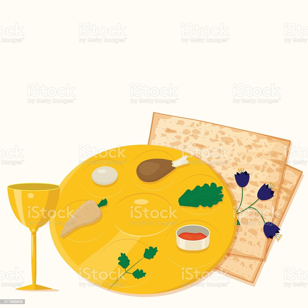 Vector illustration of passover seder plate with matzoh and wine. vector art illustration