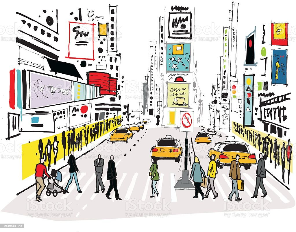 Vector illustration of pedestrians crossing road, Times Square New York vector art illustration