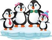 Vector Illustration Of Penguin Family