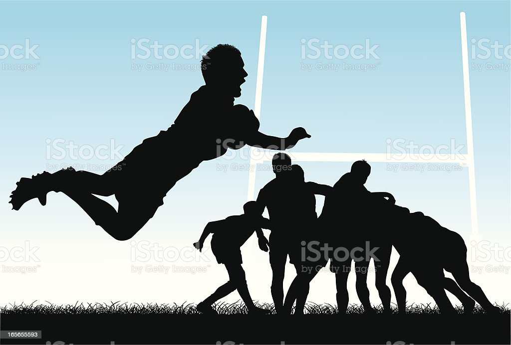 Vector illustration of people playing rugby vector art illustration