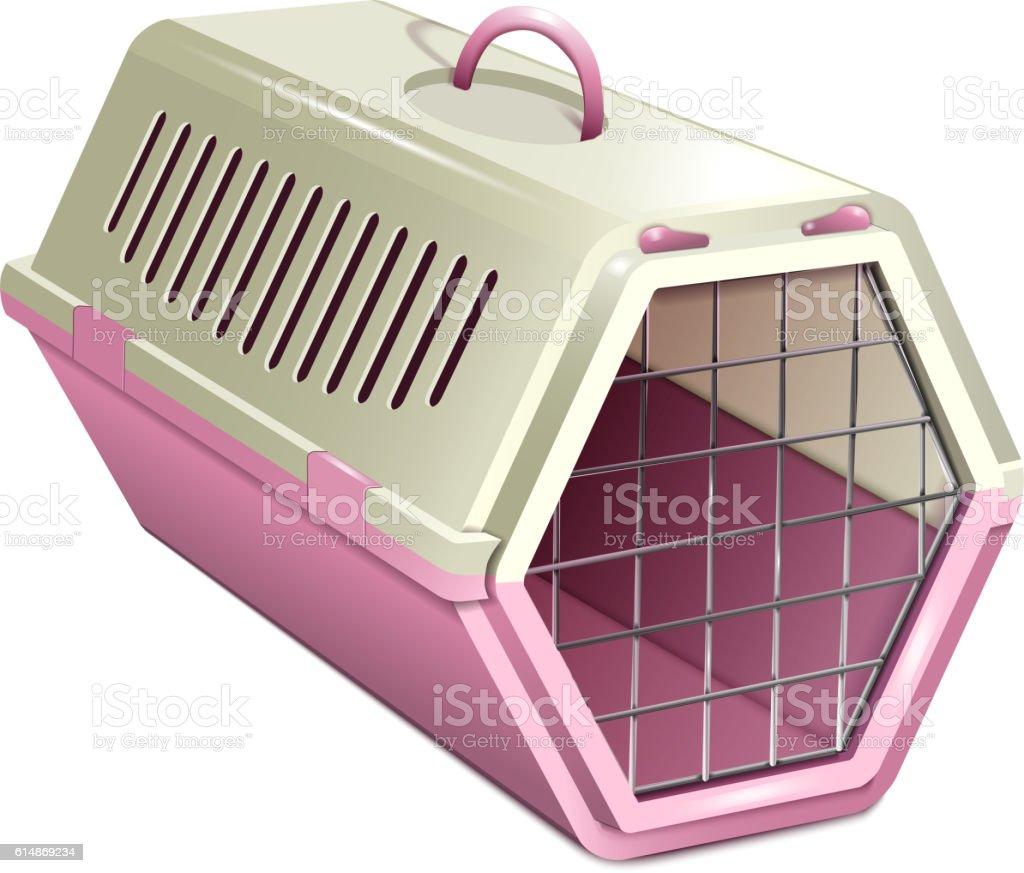 Vector illustration of pet kannel, pink cat carrier vector art illustration