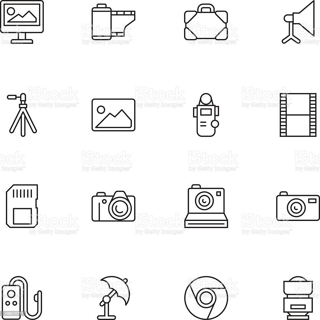 Vector illustration of photography icons vector art illustration