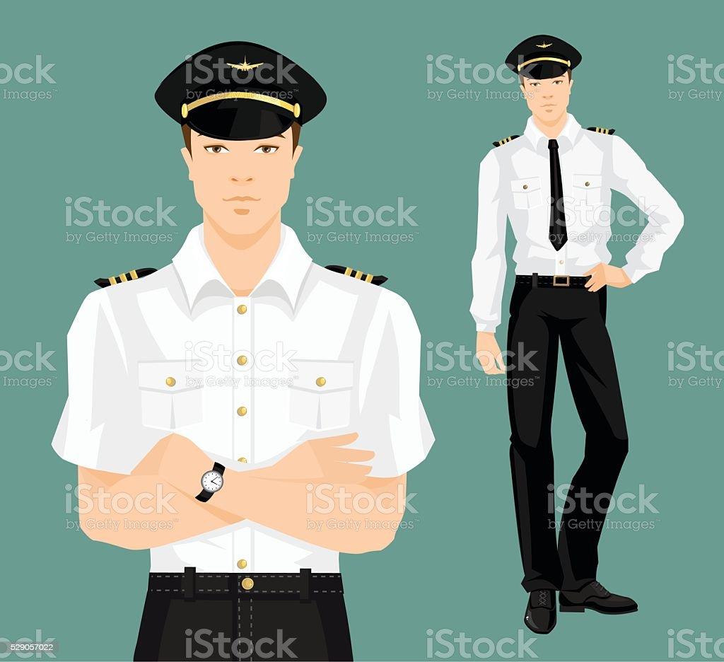 Vector illustration of pilot in formal clothes vector art illustration