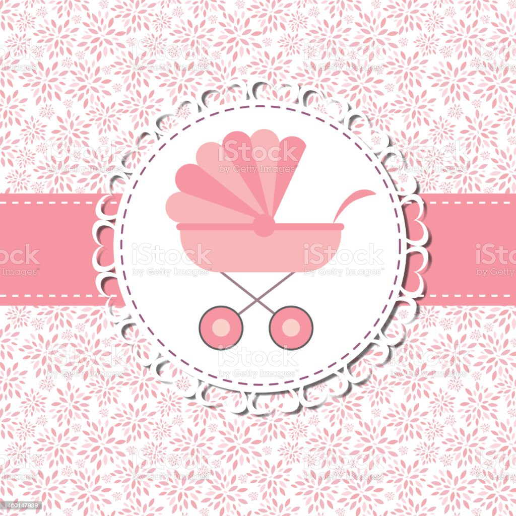 Vector Illustration of Pink Baby Carriage for Newborn Girl royalty-free stock vector art