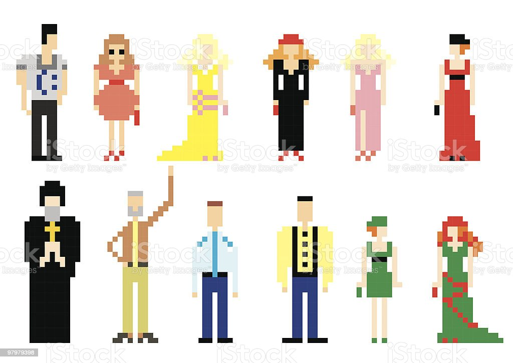 vector illustration of pixel people for web. set 2 royalty-free stock vector art