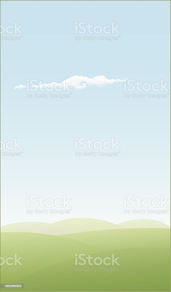 Vector illustration of plains and blue sky with a cloud royalty-free stock vector art