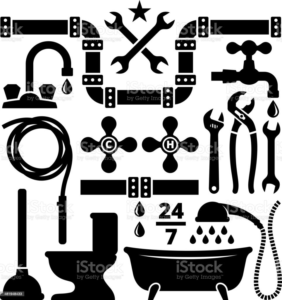 Vector illustration of plumbing design elements vector art illustration