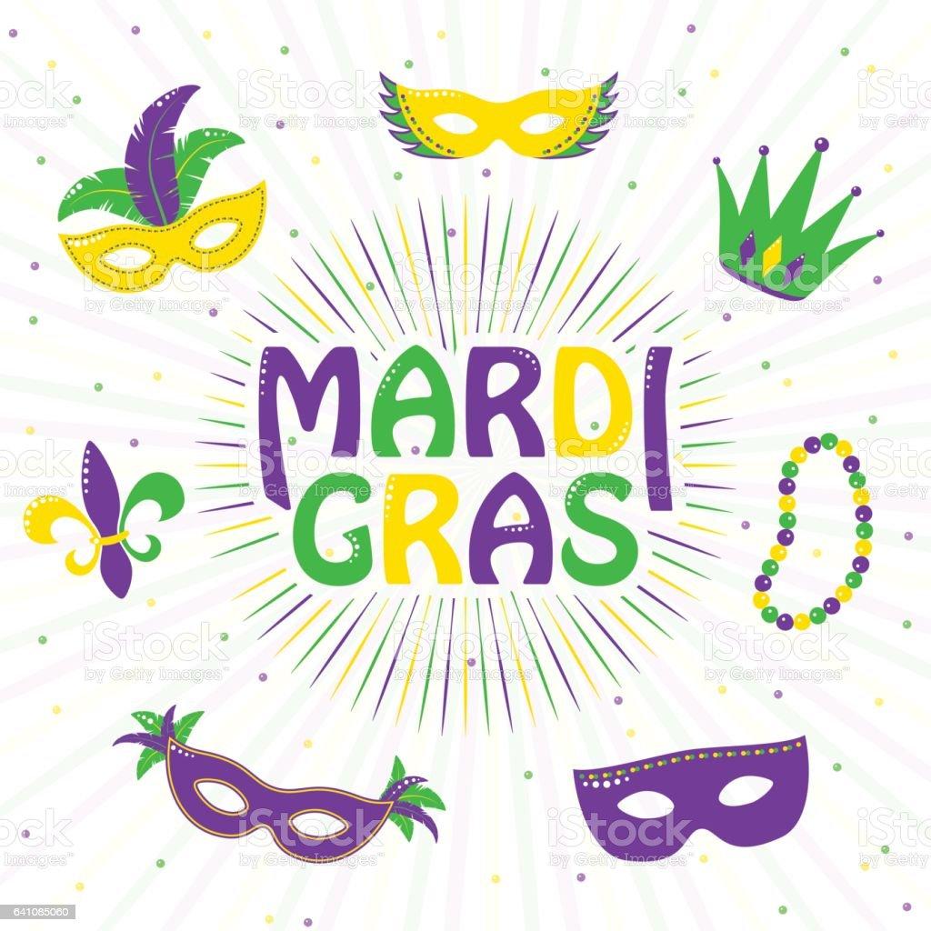 Vector illustration of purple, yellow, green mardi gras greeting card vector art illustration