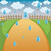 Vector Illustration Of Rainy Background