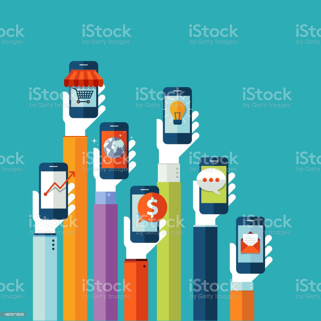 Vector illustration of raised hands holding phones vector art illustration