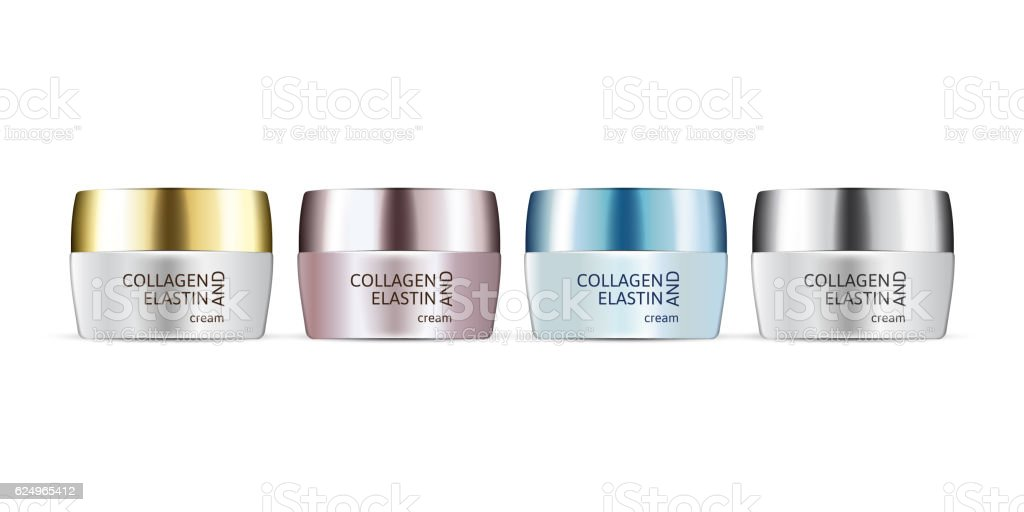 Vector illustration of realistic cream containers isolated on white background. vector art illustration
