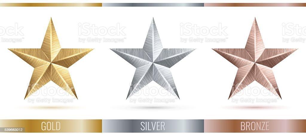 Vector illustration of realistic metallic 3 stars vector art illustration