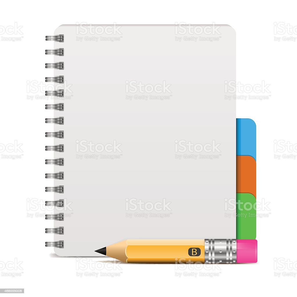 Vector illustration of realistic spiral notebook and detailed pencil vector art illustration