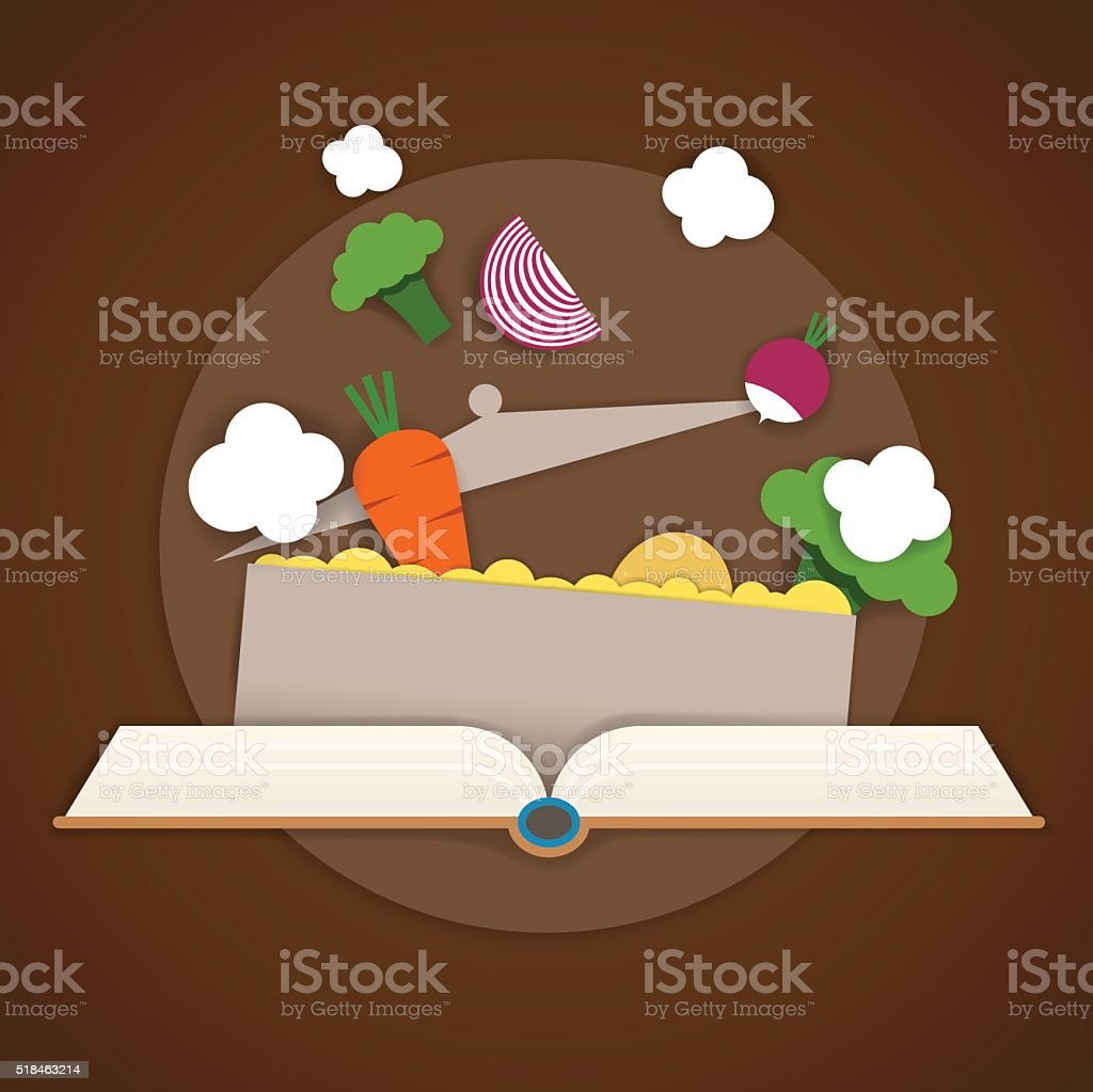 Vector illustration of recipe books and a pot of soup vector art illustration