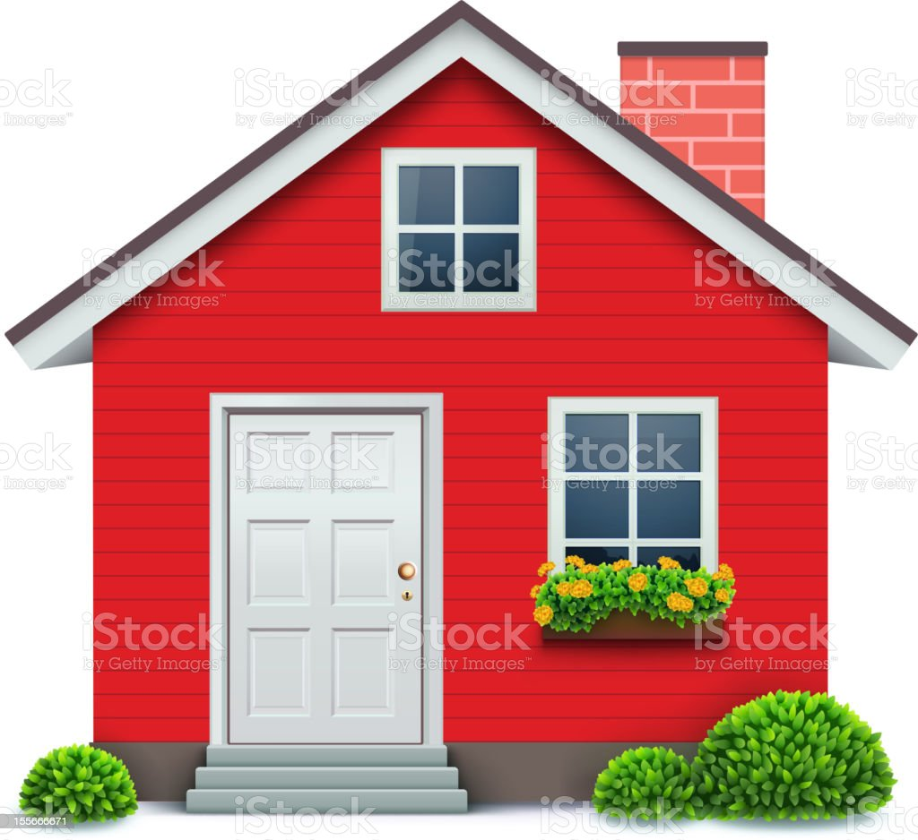 Vector illustration of red house icon vector art illustration