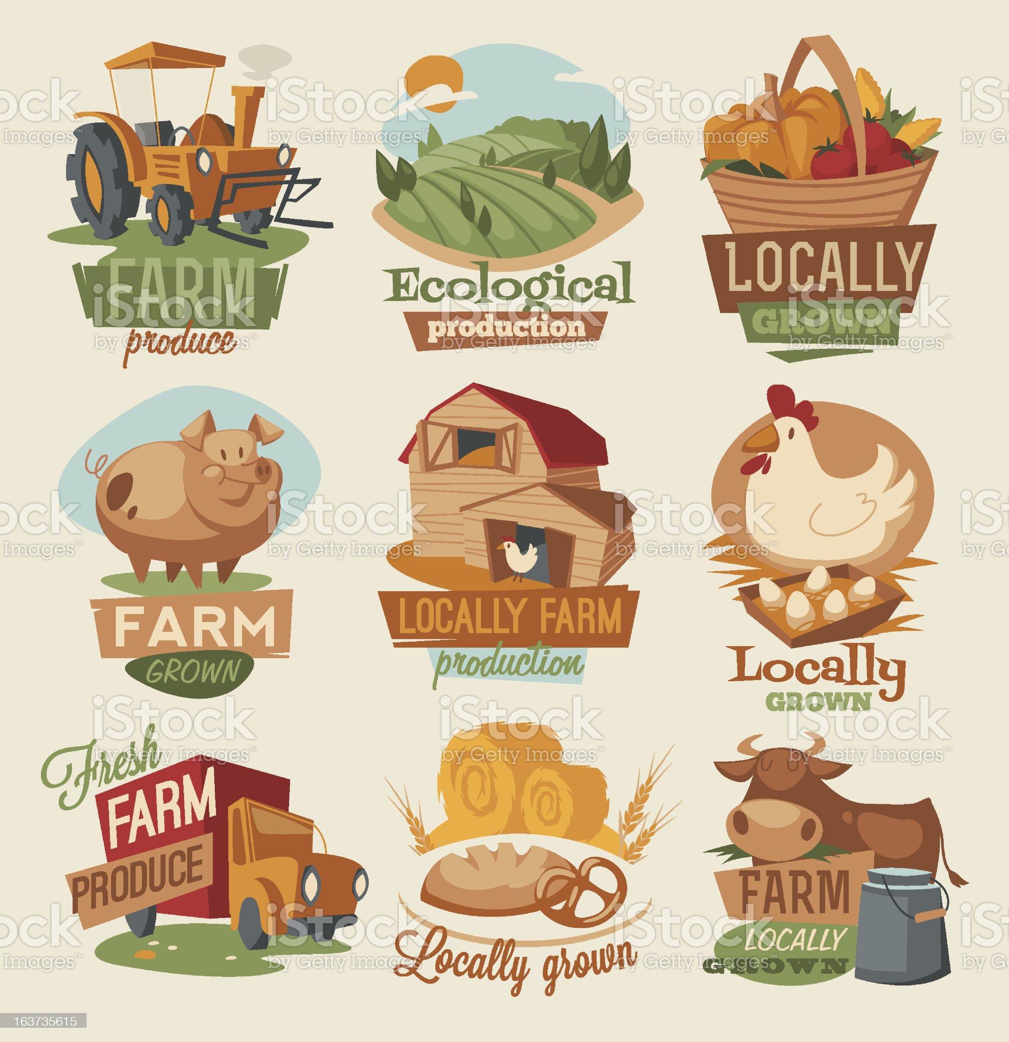 Vector illustration of retro style farm emblems royalty-free stock vector art