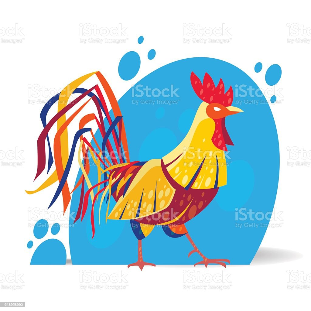 Vector illustration of rooster in modern stylized design. royalty-free stock vector art
