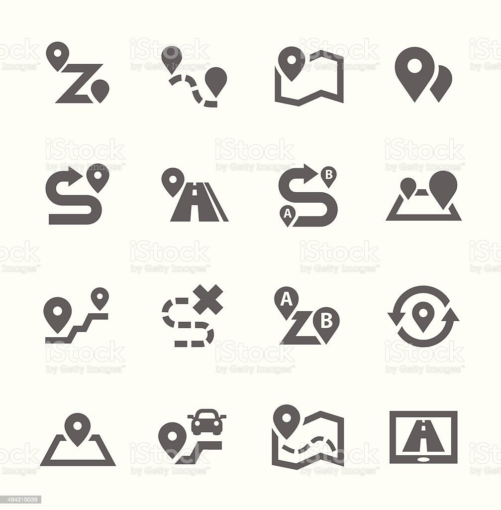 Route Icons vector art illustration