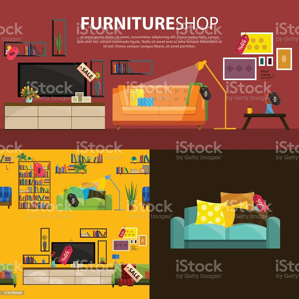 Vector illustration of sale products in a furniture store vector art illustration