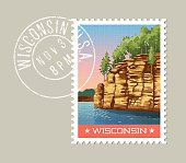 Vector illustration of sandstone bluffs on the Wisconsin River, Wisconsin