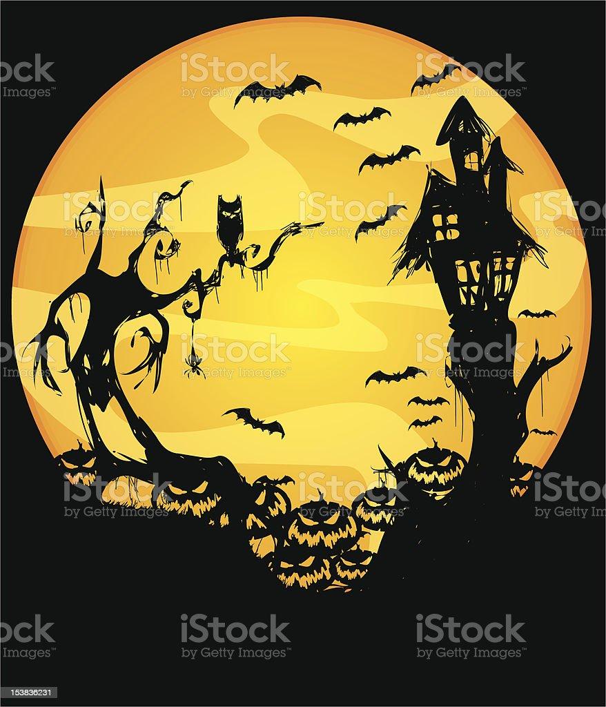 vector illustration of scary halloween night scene royalty-free stock vector art
