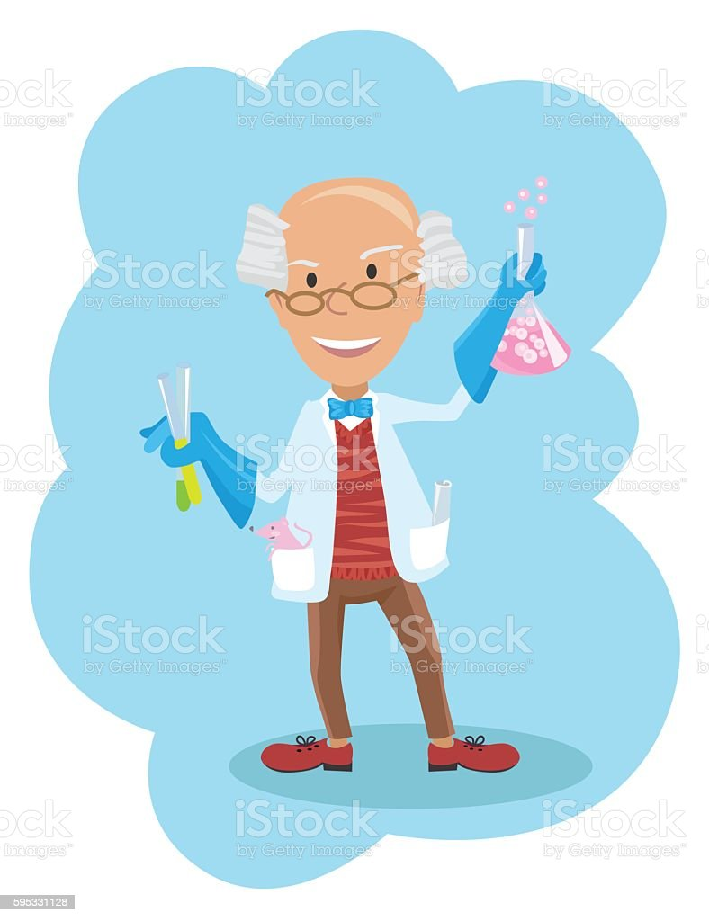 Vector illustration of scientist with testube in flat style vector art illustration