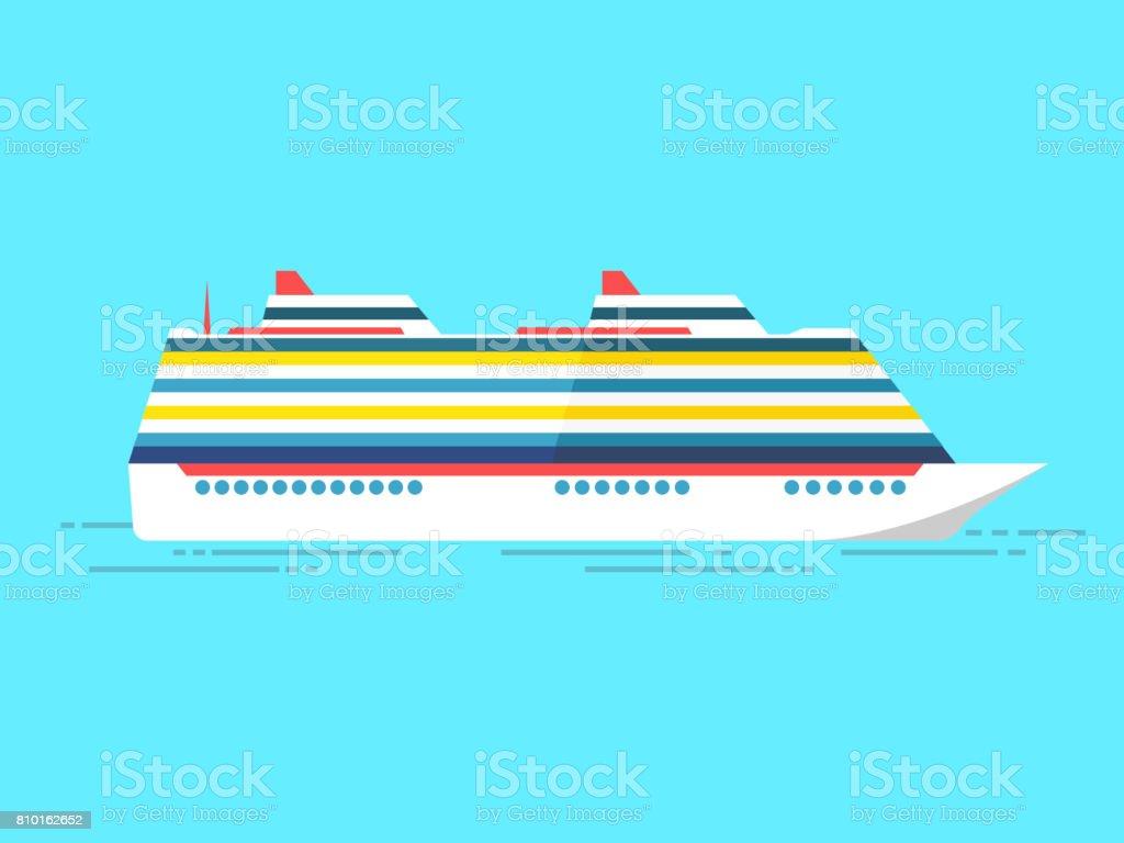 Vector illustration of sea cruise ship isolated on blue vector art illustration