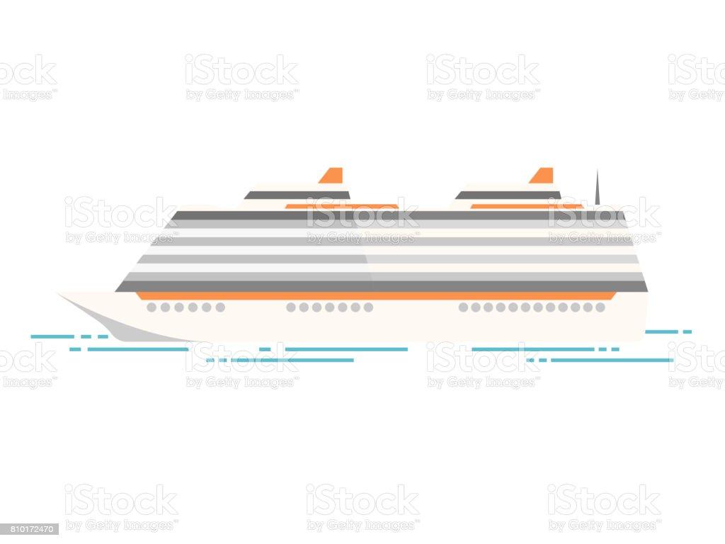 Vector illustration of sea cruise ship isolated on white vector art illustration