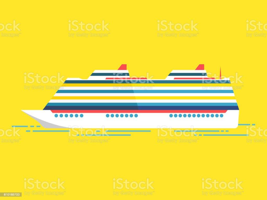 Vector illustration of sea cruise ship isolated on yellow vector art illustration