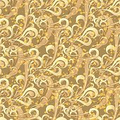 Vector illustration of seamless square golden vintage color pattern with