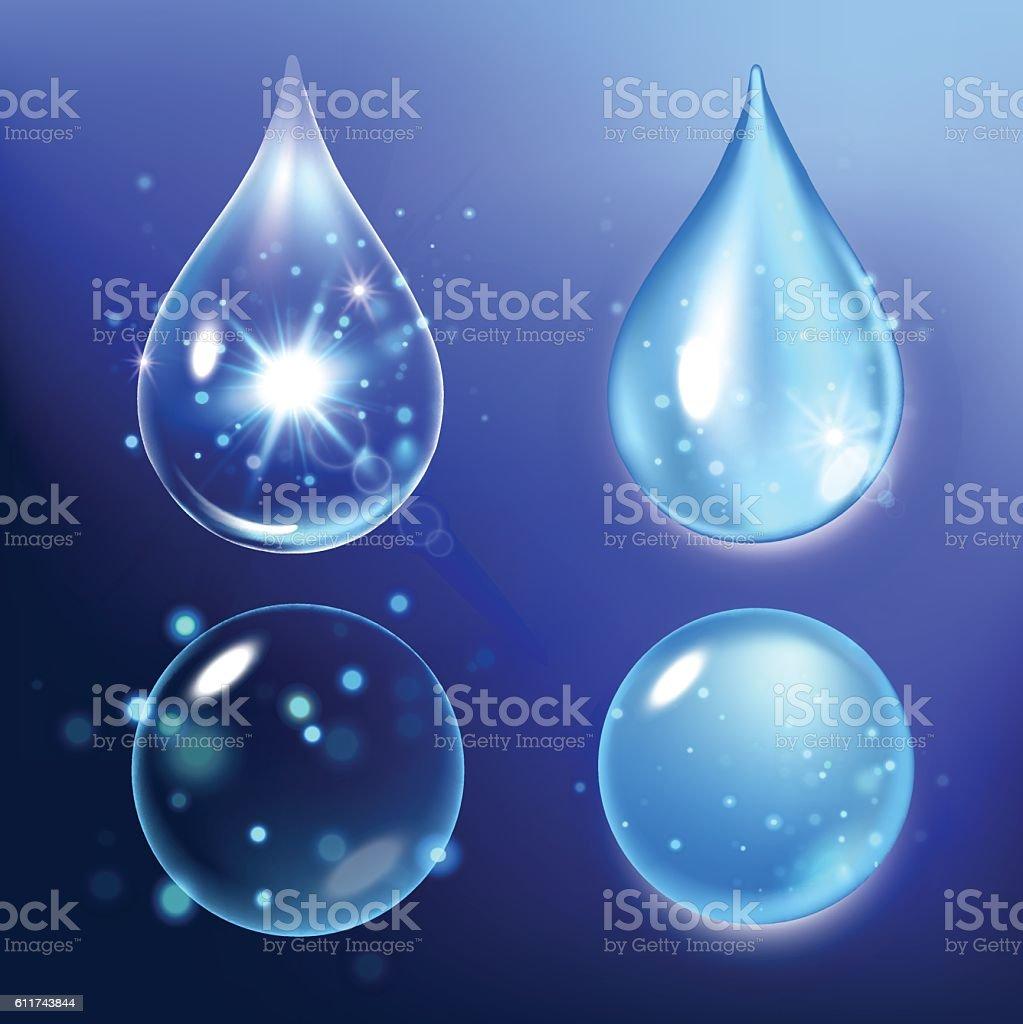 Vector illustration of Set collagen drops, water, transparent, hyaluronic acid. vector art illustration