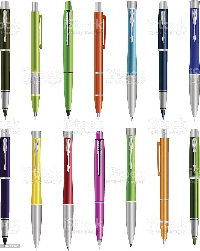 Vector illustration of set colorful pens vector art illustration