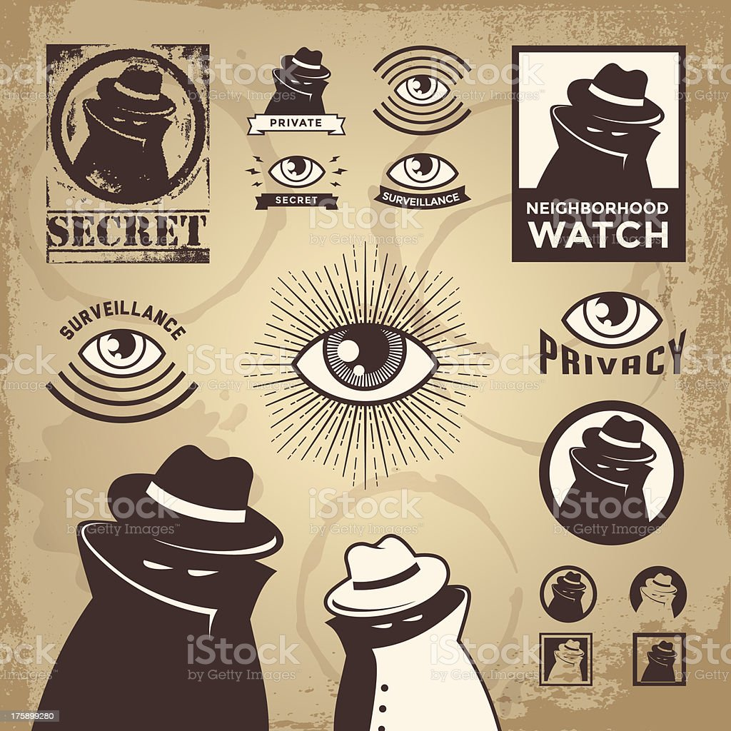 Vector illustration of set of crime related icons vector art illustration