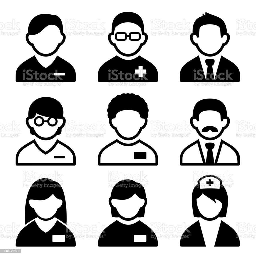 Vector illustration of set of nine doctor icons vector art illustration