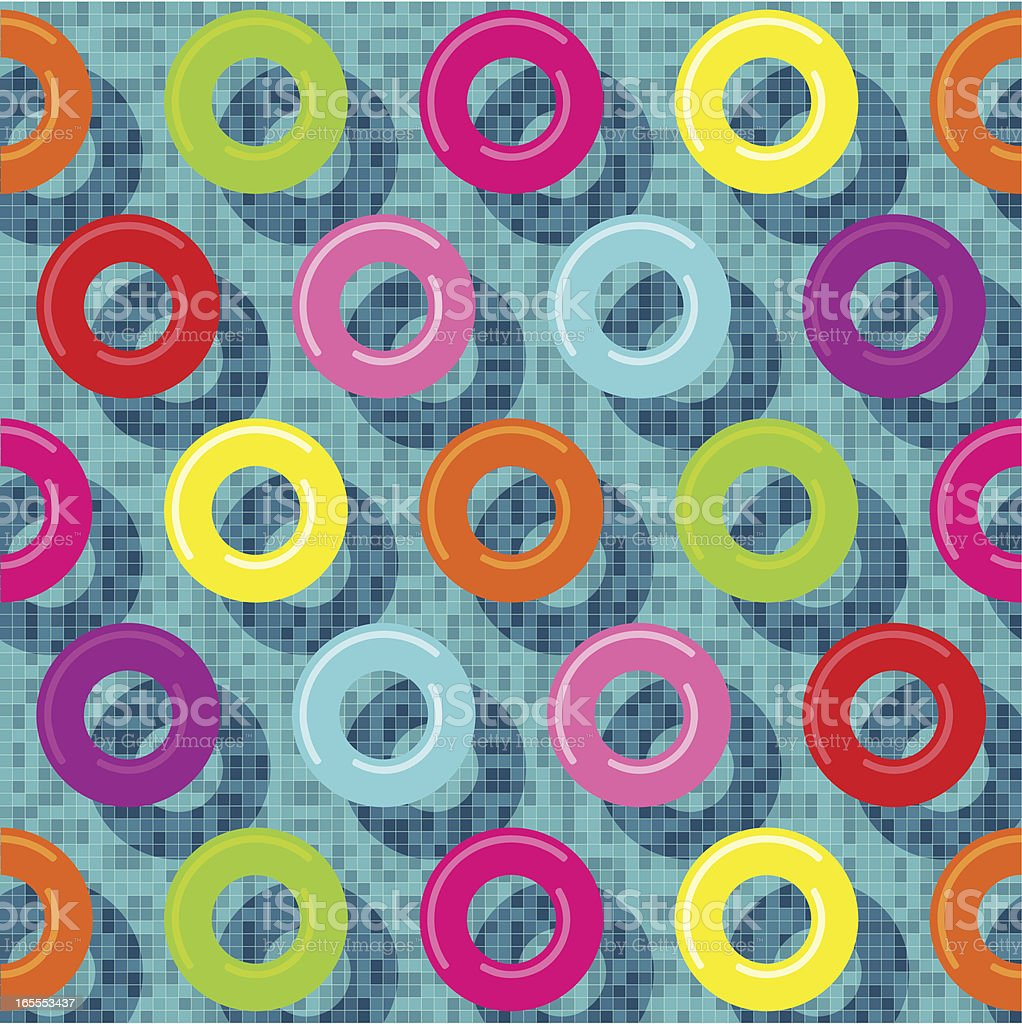 Vector illustration of several rubber rings in a pool vector art illustration