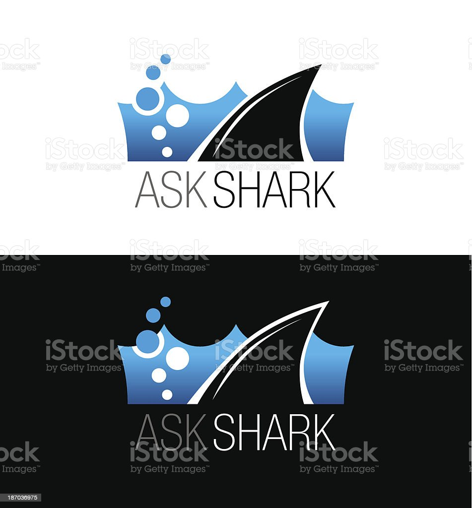 Vector illustration of shark business sign vector art illustration