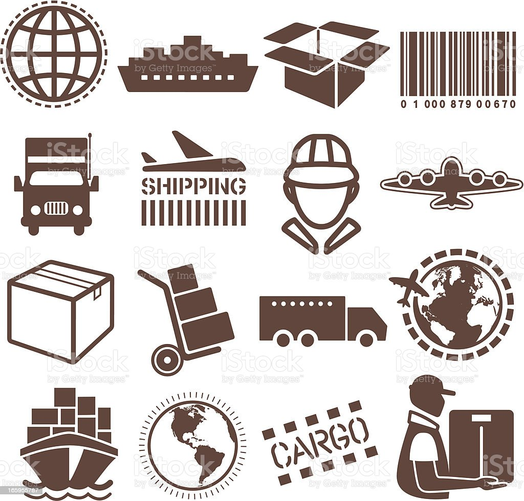 Vector illustration of shipping and cargo icons royalty-free stock vector art