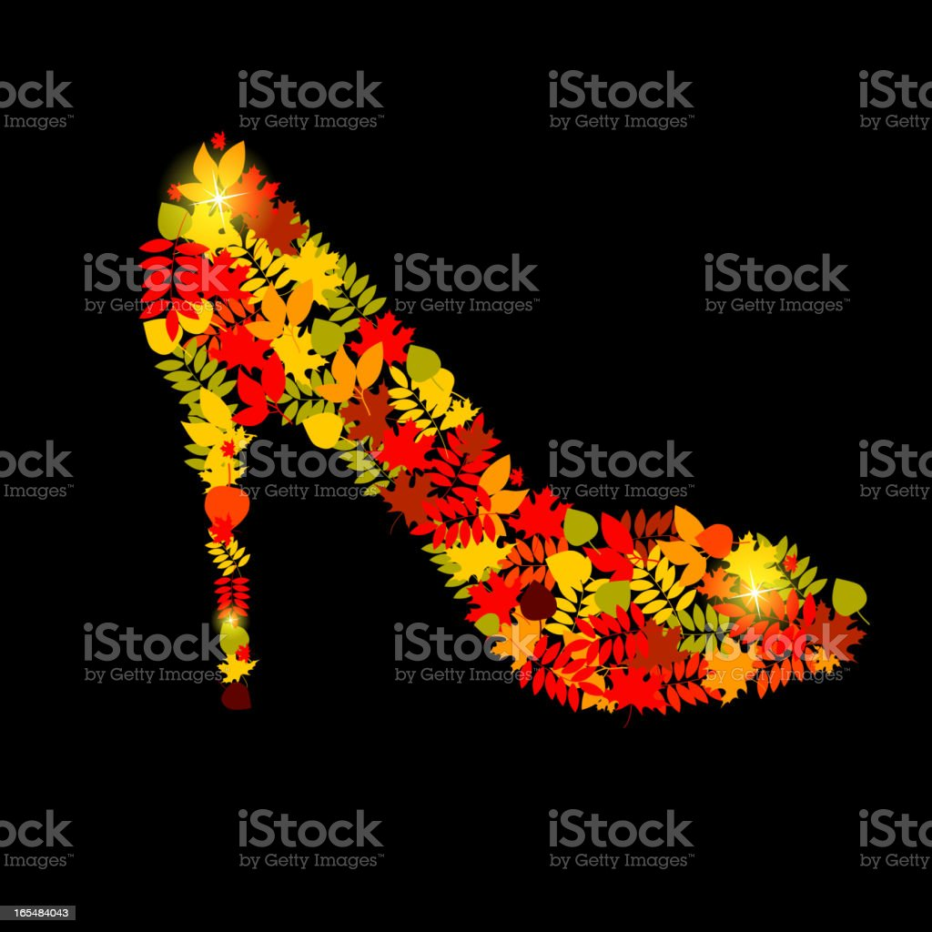 Vector illustration of shoes from autumn leaves vector art illustration