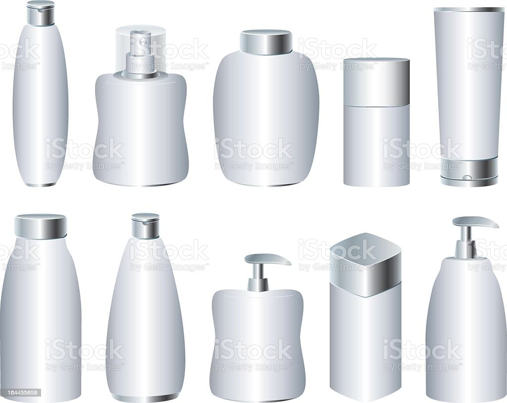 Vector illustration of silver cosmetic containers royalty-free stock vector art