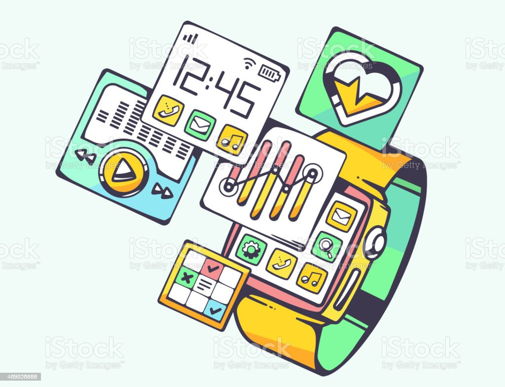 Vector illustration of simple smart watch with screens vector art illustration
