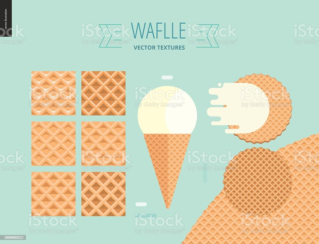 Vector illustration of six seamless waffle patterns on mint background vector art illustration
