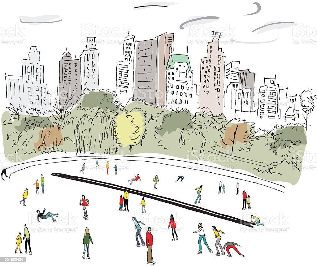 Vector illustration of skaters in winter, Central Park, New York vector art illustration