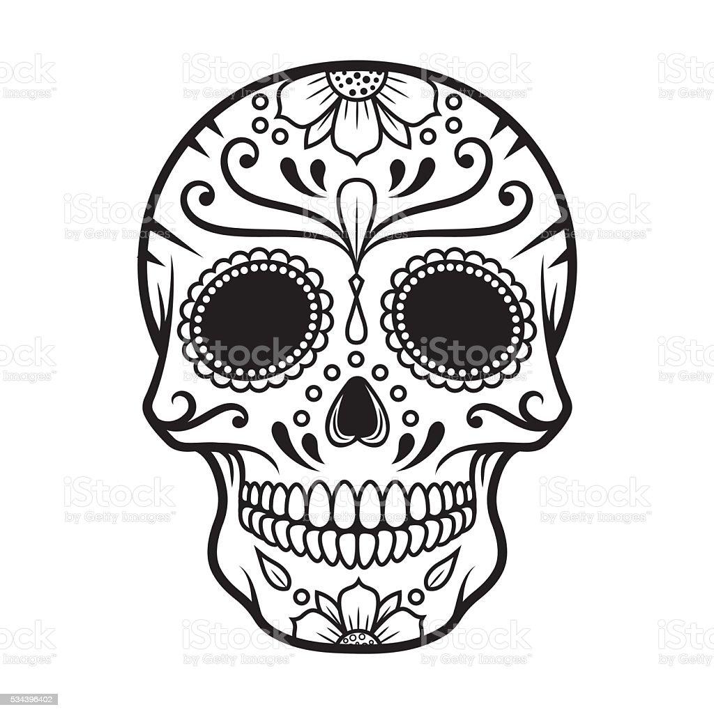 Vector illustration of Skull the Day of the Death vector art illustration